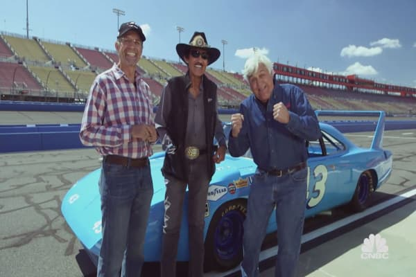 Nascar legends Kyle and Richard Petty take to the racetrack