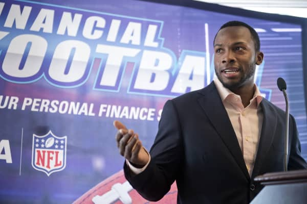 Wide receiver Ryan Broyles speaks during an event to educate teens about financial responsibility