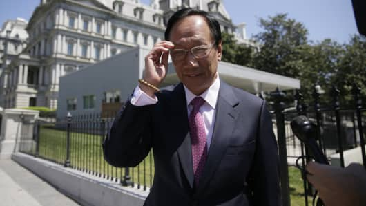 Foxconn Chairman Terry Gou talks to reporters as he exits the White House following a second day of meetings in Washington, U.S., April 28, 2017.
