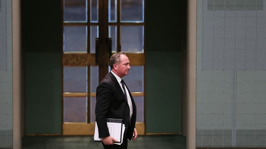Australian politician Barnaby Joyce at Parliament House on June 1, 2015 in Canberra, Australia.