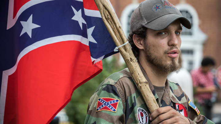 Ben, a 21-year-old KKK member from Harrison, AK, in Emancipation Park prior to the Unite the Right rally in Charlottesville,Virginia, August 12, 2017.