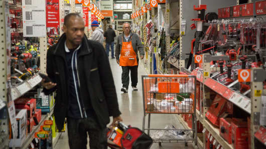 Customers shop at a Home Depot Inc. store in Jersey City, New Jersey.