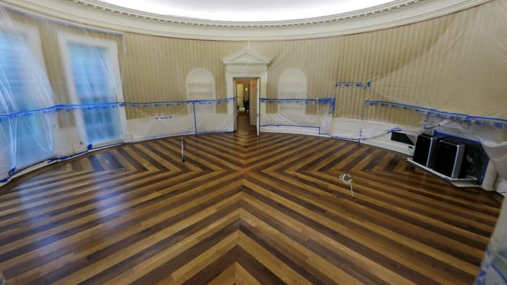 The Oval Office Of White House Sits Emptied All Furniture Carpet And Other
