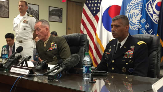 Marine Corps Gen. Joe Dunford, chairman of the Joint Chiefs of Staff, and Army Gen. Vincent K. Brooks, the U.S. Forces Korea commander, at a news briefing in Seoul, South Korea, Aug. 14, 2017.