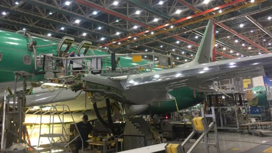 A Boeing 737 on the production line in Renton, Washington.