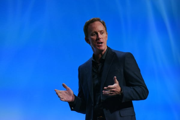 Roger Lynch, speaks during an event at the 2016 Consumer Electronics Show (CES) in Las Vegas, Nevada, when he was Sling's CEO in January 2016. Lynch has been appointed as Pandora's new CEO.