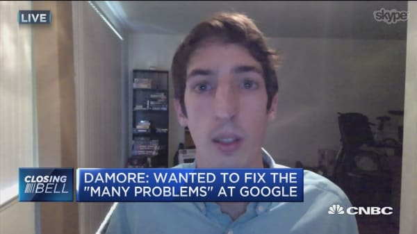 James Damore, former Google engineer, talks to CNBC via Skype on Monday, Aug. 14. Damore was fired after a controversial memo about diversity went viral.