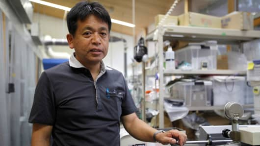 Kyoto University Professor Hiroyuki Yano, who is leading research in making auto parts using wood, at his laboratory in Kyoto, Japan on July 25, 2017.