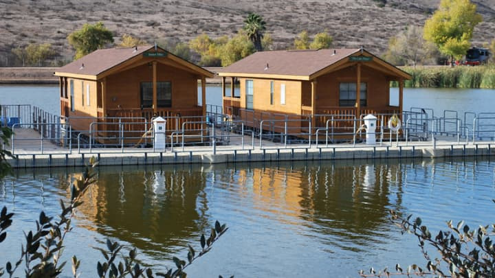Floating cabins at Santee Lakes Preserve, Santee, CA.