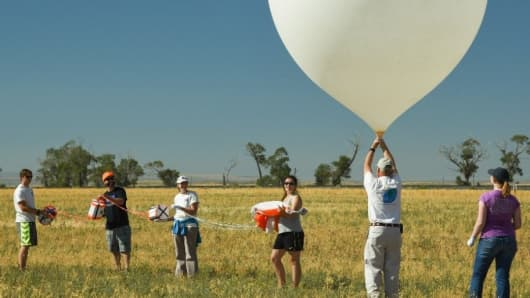 A test launch of a high-altitude balloon in Idaho by a team from Montana State University.