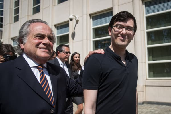 Lead defense attorney Benjamin Brafman walks with former pharmaceutical executive Martin Shkreli after the juror issued a verdict at the U.S. District Court for the Eastern District of New York, August 4, 2017 in the Brooklyn borough of New York City.