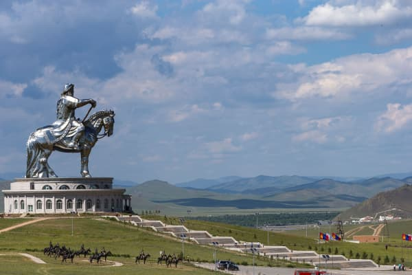 Genghis Khan equestrian statue in Tsonjin Boldog