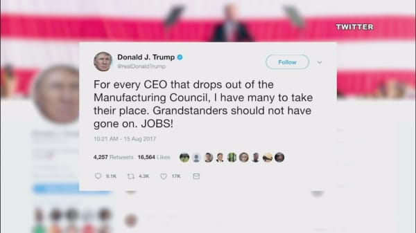 Trump hits CEOs who left manufacturing council as 'grandstanders'