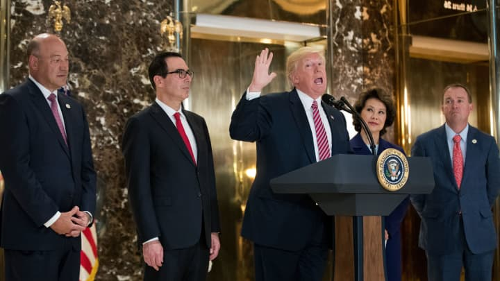President Donald Trump delivers remarks following a meeting on infrastructure at Trump Tower, August 15, 2017 in New York City.