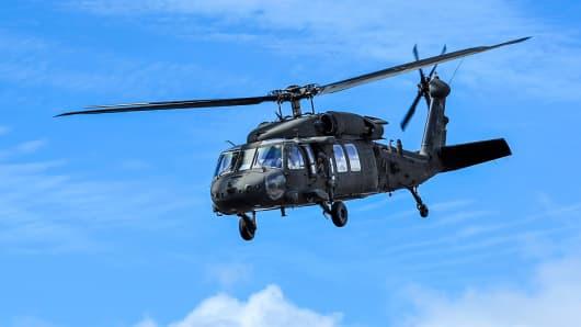 File photo of a U.S. Army UH-60 Black Hawk helicopter near Kauai, Hawaii.
