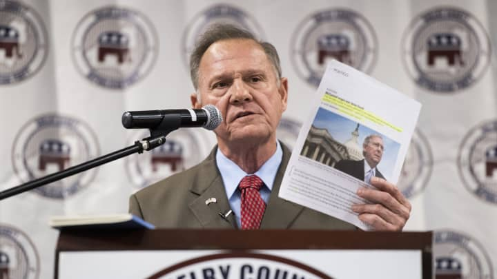 GOP candidate for U.S. Senate Roy Moore, holding an article about Senate Majority Leader Mitch McConnell, R-Ky., speaks during the U.S. Senate candidate forum held by the Shelby County Republican Party in Pelham, Ala., on Friday, Aug. 4, 2017.