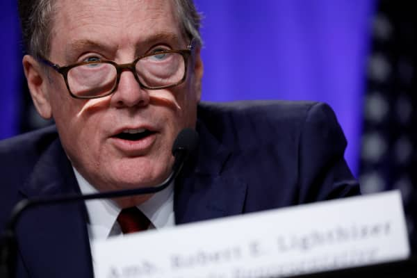 United States Trade Representative Robert Lighthizer speaks at a news conference prior to the inaugural round of North American Free Trade Agreement renegotiations in Washington, U.S., August 16, 2017.
