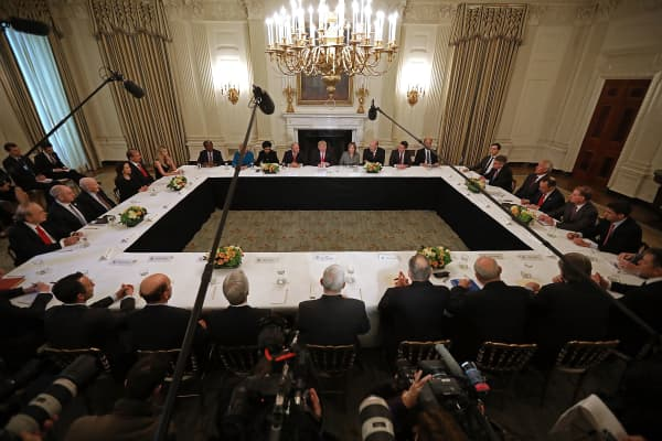President Donald Trump delivers opening remarks at the beginning of a policy forum with business leaders in the State Dining Room at the White House February 3, 2017 in Washington, DC.
