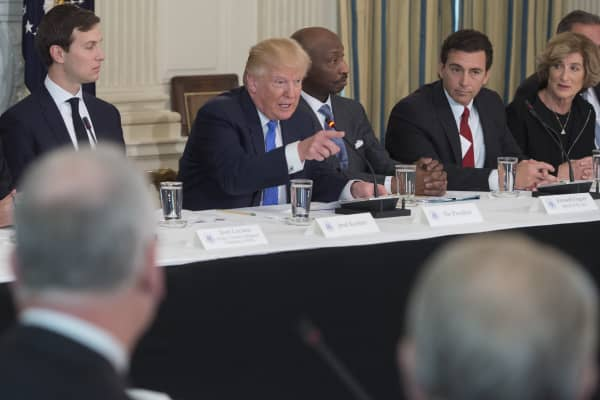 President Donald Trump speaks during the opening of a listening session with manufacturing CEOs in the State Dining Room of the White House February 23, 2017 in Washington, DC.