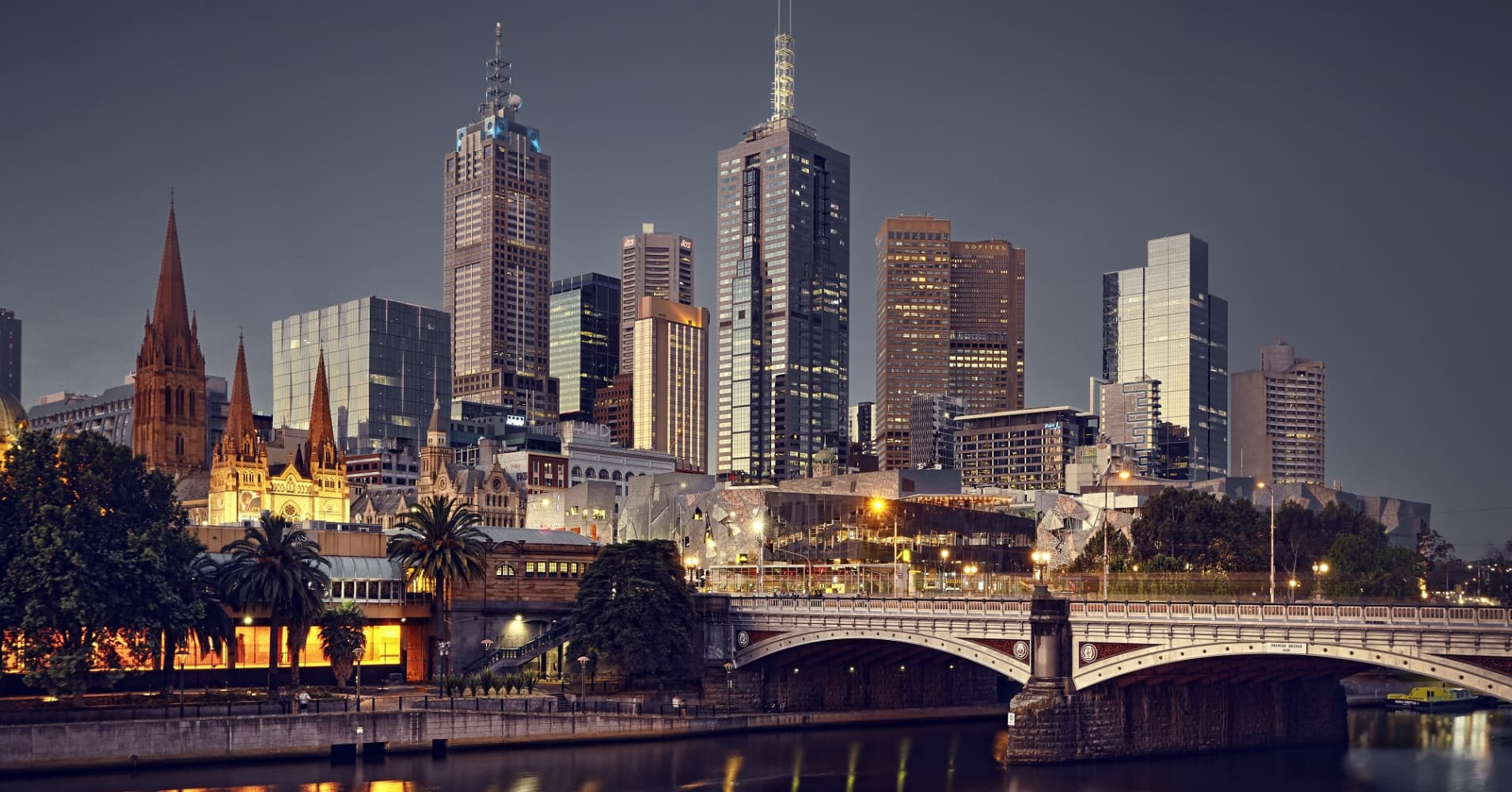 Melbourne, Australia, at night.