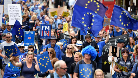 Thousands of people take to the streets in a series of 'March for Europe' rallies in protest against the referendum vote to leave the EU