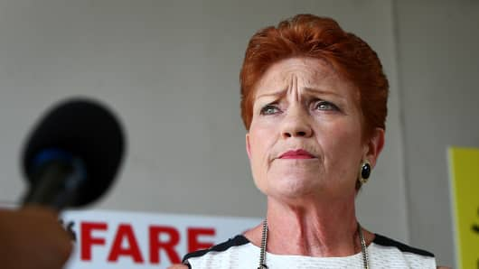 Senator Pauline Hanson speaks with the media on December 8, 2016 in Sunshine Coast, Australia.