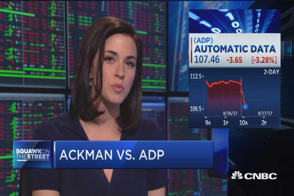 ADP shares tumble during Bill Ackman's presentation