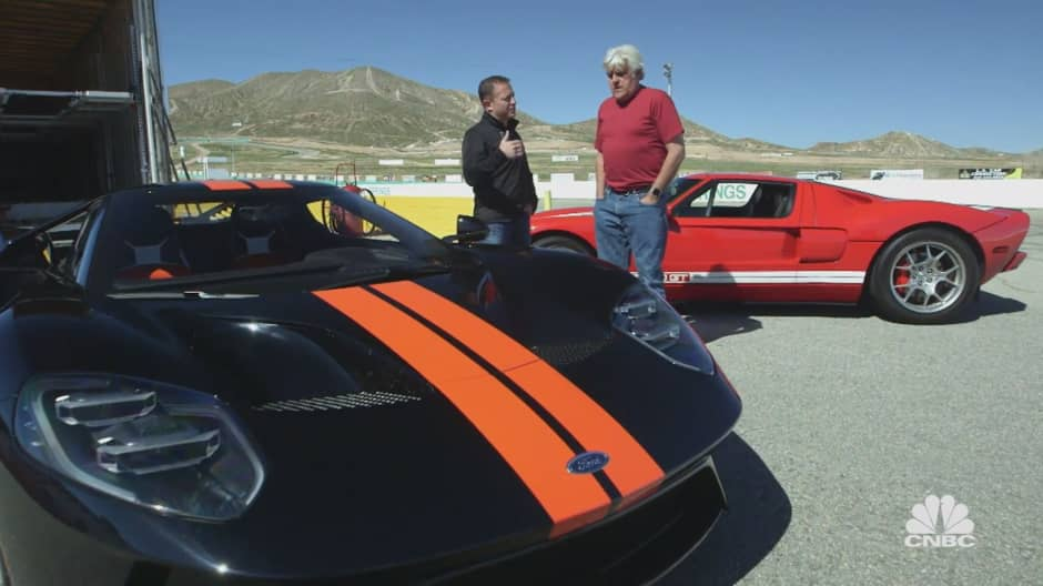 Jay Leno treats Ted Koppel to a ride in the first-generation Acura NSX