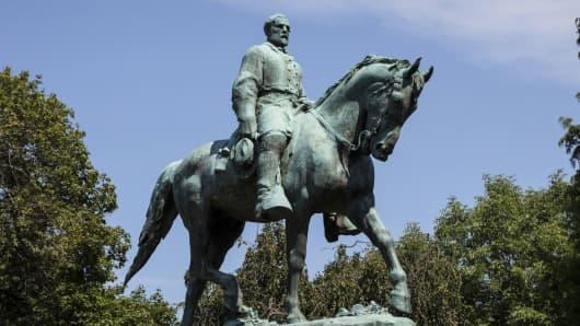 The Robert E. Lee statue in Charlottesville, Virginia.