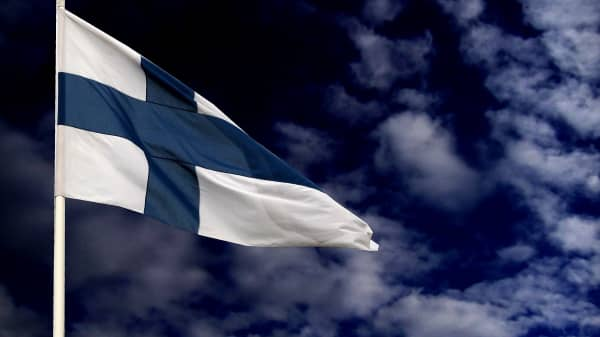 Flag of Finland waving in wind.