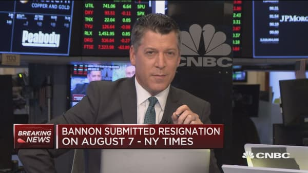 NYSE cheers news of Bannon's departure