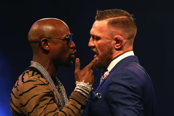 Floyd Mayweather Jr. and Conor McGregor trash talk ahead of their Aug. 26 fight in Las Vegas.