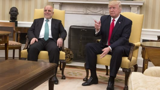 U.S. President Donald J. Trump greets Iraqi Prime Minister Haider al-Abadi at the White House on March 20, 2017 in Washington DC. The meeting marks Haider al-Abadi's first visit to the US capital sinceTrump's inauguration.