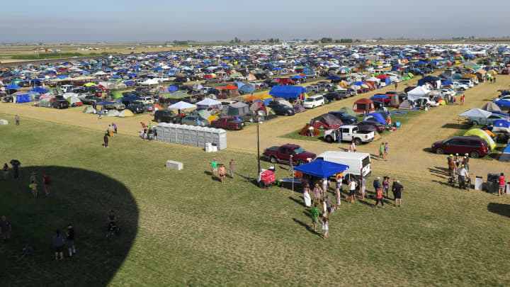 Solar eclipse enthusiasts gather in 'Solar Town' near Madras, Oregon.