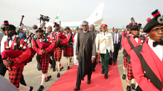 Nigerian President Mohammadu Buhari arrives in Abuja on August 19, 2017.