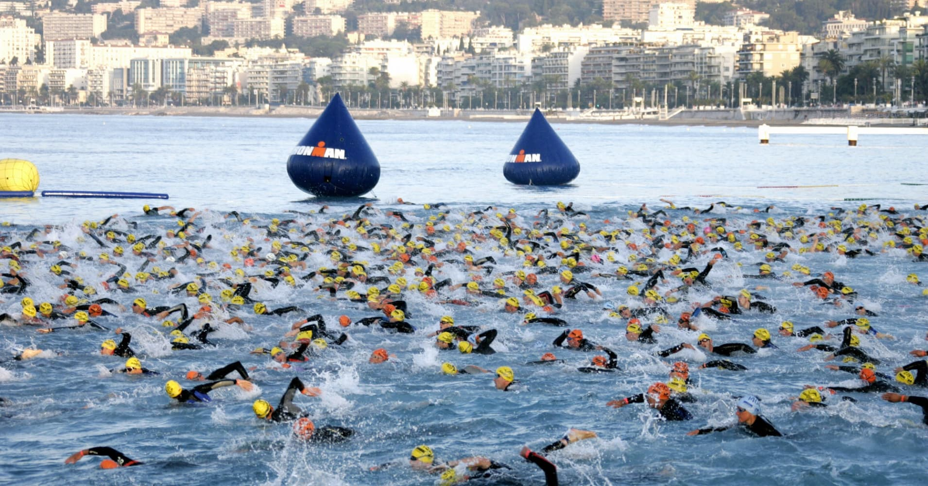 Competitors take the start of the 3rd Ironman France triathlon, 24 June 2007 in Nice, southern France.