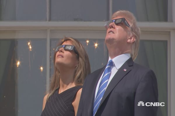 President Trump views the solar eclipse