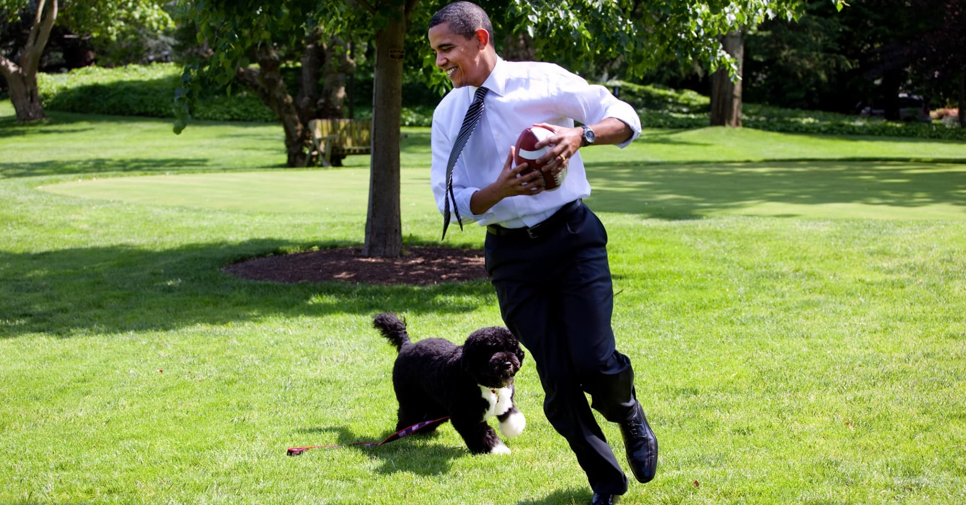 Former U.S. President Barack Obama plays football with the family dog Bo on the South Lawn of the White House.