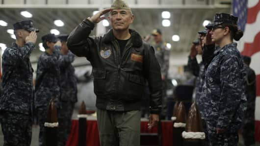 U.S. Navy Admiral Harry Harris, Commander of the U.S. Pacific Command, salutes at a ceremony marking the start of Talisman Saber 2017, a biennial joint military exercise between the United States and Australia, aboard the USS Bonhomme Richard amphibious assault ship in the Pacific Ocean off the coast of Sydney, Australia on June 29, 2017.