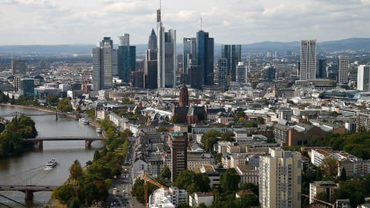 Frankfurt's skyline as viewed from the top floor of the new European Central Bank headquarters.
