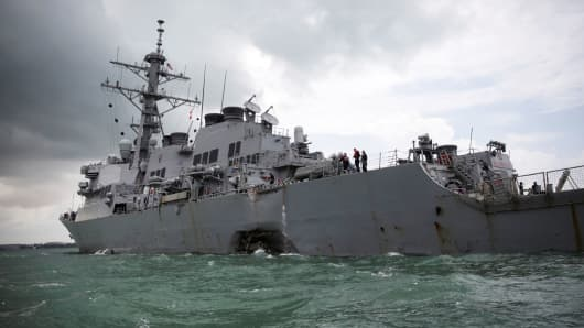 The U.S. Navy guided-missile destroyer USS John S. McCain is seen after a collision, in Singapore waters August 21, 2017.