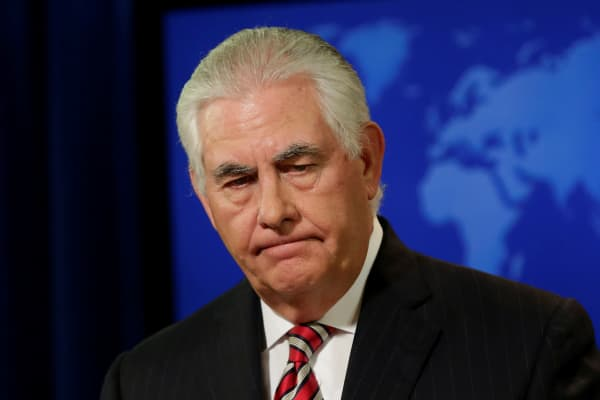 U.S. Secretary of State Rex Tillerson holds a press briefing at the State Department in Washington, U.S., August 22, 2017.