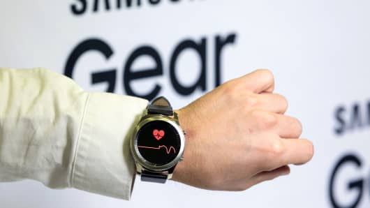Heart rate information sits on the face of a Samsung Electronics Galaxy Gear S3 Classic smartwatch. The next generation Gear watch is expected to be unveiled at an event in August 2017.
