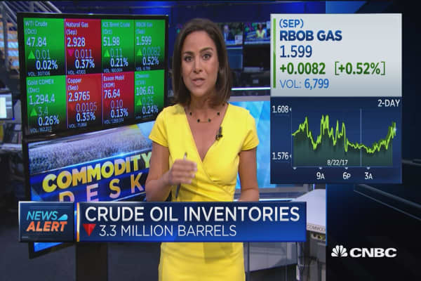 Crude oil inventories down 3.3 million barrels