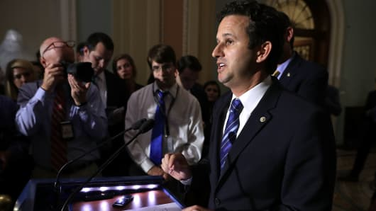 Sen. Brian Schatz (D-HI) talks to reporters following the weekly Democratic policy luncheon at the U.S. Capitol June 20, 2017 in Washington, DC.