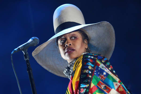 Erykah Badu performs onstage during the FYF Fest