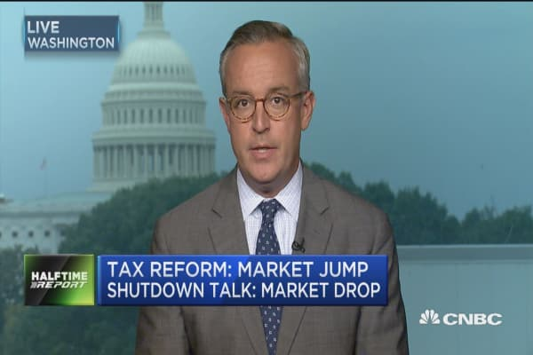 Market jumped on tax reform but dropped on gov't shutdown