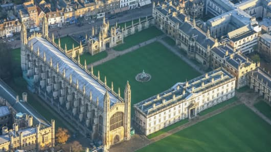 An aerial view of King's College, University of Cambridge. Cambridge University Press is the publishing business of the university.