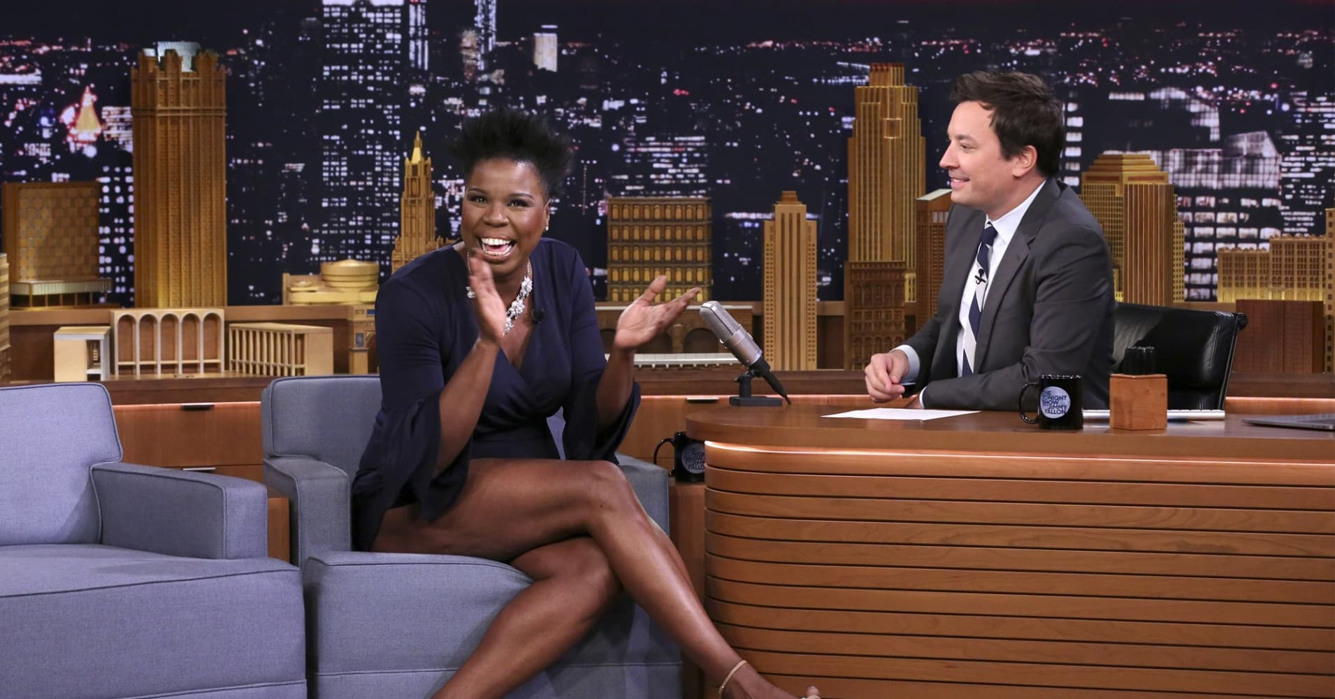Comedian Leslie Jones during an interview with host of the Tonight Show Starring Jimmy Fallon