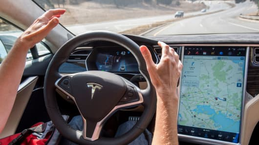 A Tesla Model S car equipped with Autopilot